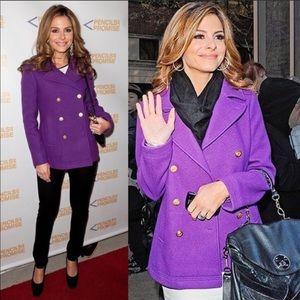 J. CREW Women's Wool Pea Coat Purple Jacket 14